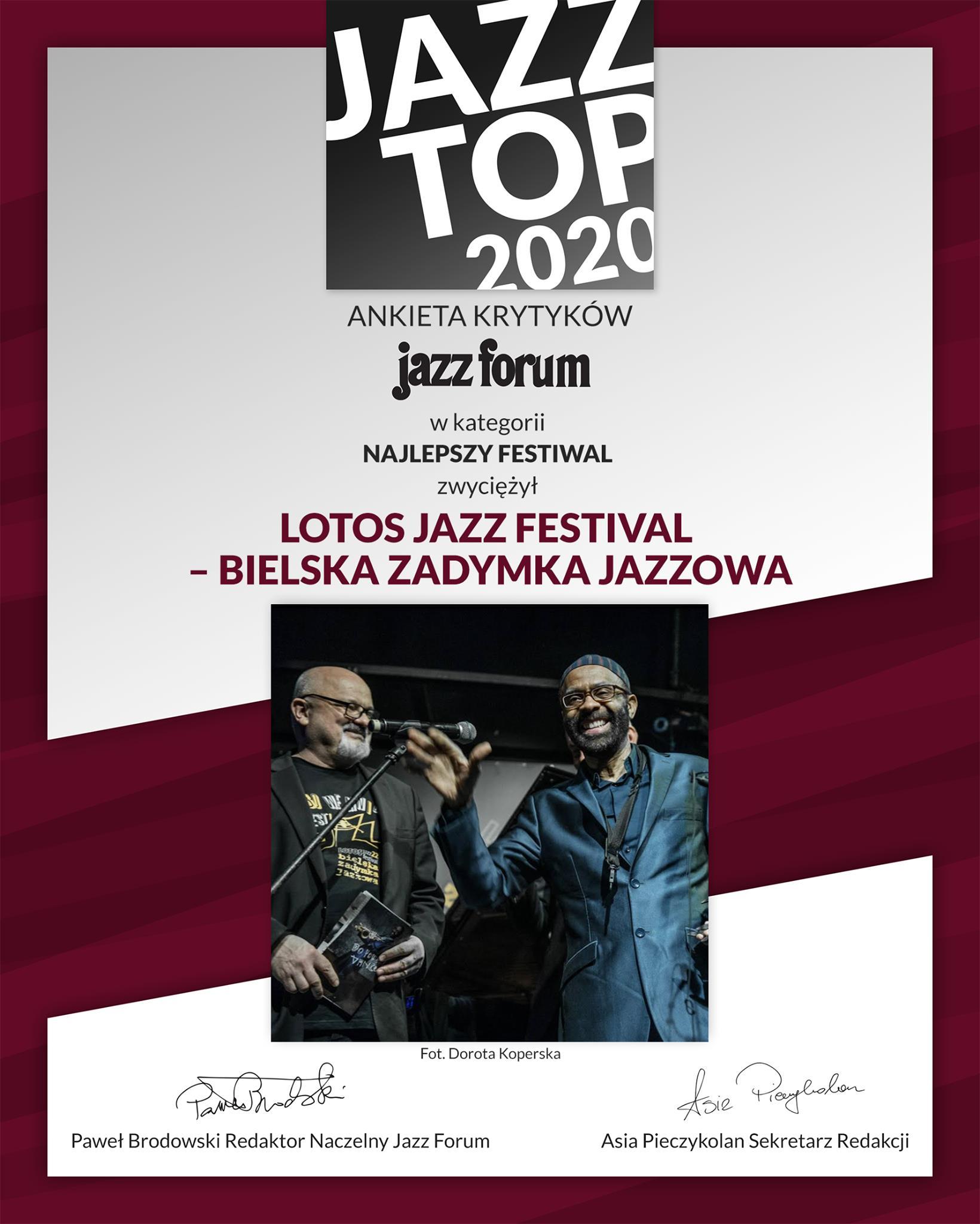 Dyplom Jazz Top 2020 dla Najlepszego Festiwalu